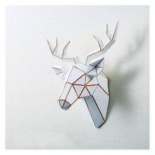 3D Modern Deer Head Sculpture 44x37x21cm Murals Home Wall Hanging Elk Statue Handmade Ornament Artwork Craft