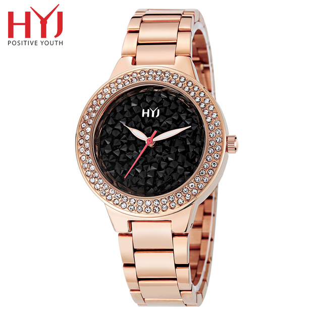 New fashion women watch royalblue full stainless steel female watch HYJ vintage watch women dress watches h550 free shipping