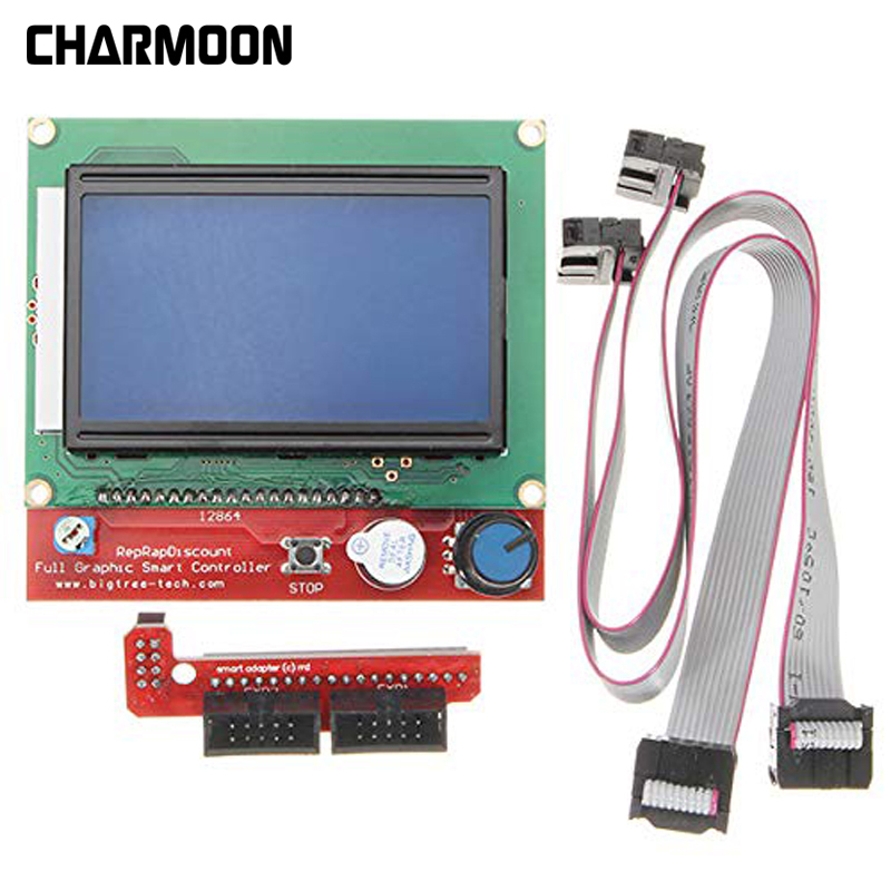 1 X Lcd12864 Controller + 1 X Switch Board + 2 X 30cm Cable Lcd Control Panel 3d Printer Controller Display 2018 Hot Sale
