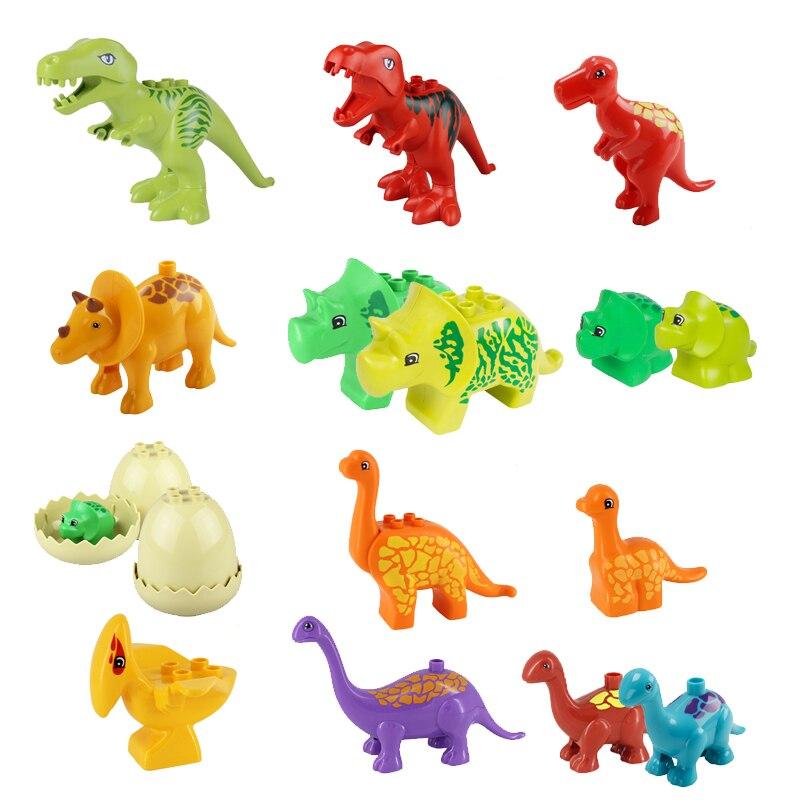 Duplo Dinosaur Blocks Jurassic Dinosaur Model Figure Building Blocks Animal Part T-rex Pteranodon Triceratops Apatosaurus Model