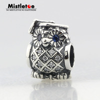 Authentic 925 Sterling Silver Animal Owl Silver Charm With Swiss Blue Crystal Clear CZ Charm Bead