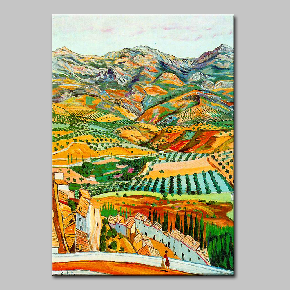 Distant Farmland Of Vincent Van Gogh 100 Hand Made High Q Reproduction Oil Painting On Canvas