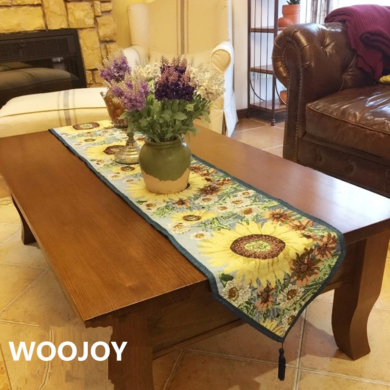 High Quality American Style Sunflower Table Runner Home Decoration Table  Decoration Table Cloth(China (