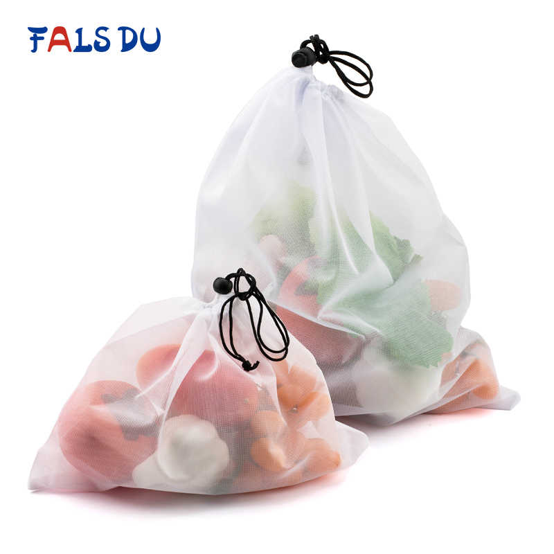 3pcs Reusable Vegetable Fruit Bags Eco Friendly Shopping Toys Mesh Produce Bags Kitchen Storage Mesh Bags