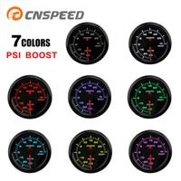 CNSPEED 2 52mm Turbo Boost Gauge 7 Color LED Car Auto PSI Turbo Pressure Meter High Speed Stepper Motor Boost Sensor YC101374