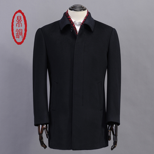 DINGTONG Top Quality Men Winter Thick Wool Trench Warm Long Padded Overcoat Single Breasted Regular Fit Business Casual Coat