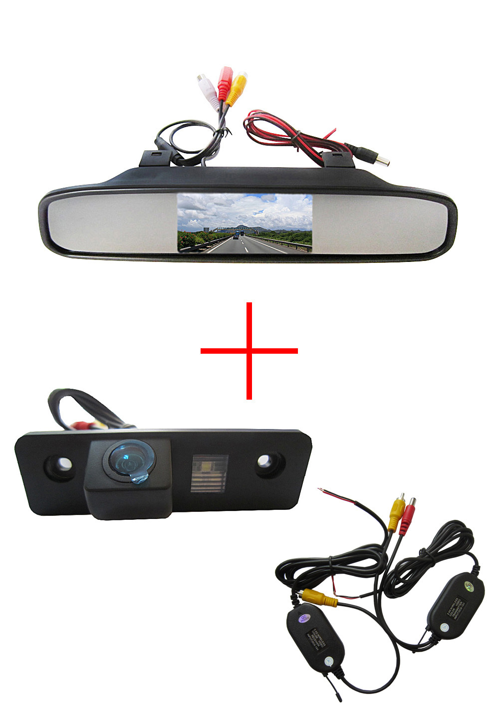Wireless Color CCD Chip Car Rear View Camera for SKODA ROOMSTER OCTAVIA TOUR FABIA + 4.3 Inch rearview Mirror Monitor car usb sd aux adapter digital music changer mp3 converter for skoda octavia 2007 2011 fits select oem radios