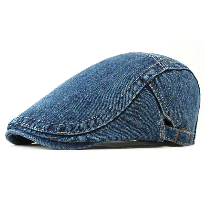 2019 Spring Summer Solid Color Newsboy Caps Men Washed Denim Cotton Flat Peaked Cap Women Painter Beret Hats 13