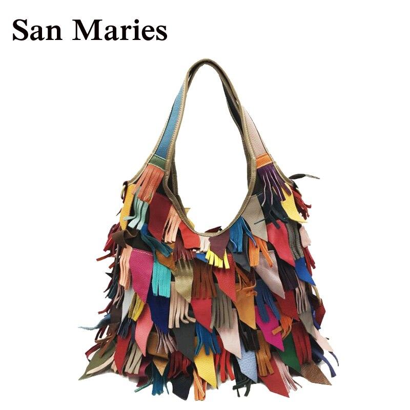 2021470aad75 Real 100% Genuine Leather Bags Women Hobo Patchwork Flower Handbags Ladies  Tote Bag Colorful Freeship