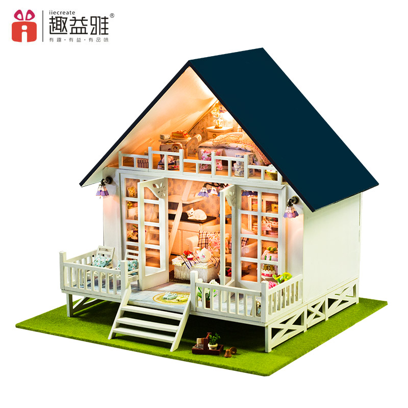 iiE CREATE DIY Wooden Building Model 3D Miniature Doll Houses Educational Furniture Kits Doll'sHouse Toys for Children Gifts d030 diy mini villa model large wooden doll house miniature furniture 3d wooden puzzle building model