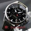 48mm parnis schwarz dial woche datum edelstahl automatische herren armbanduhr 180