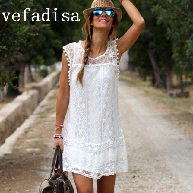 2018 летние белые Кружево пляжное платье Для женщин О-образным вырезом кисточкой мяч Платья для женщин выдалбливают сексуальные мини-платье вечерние платья Костюмы jmd043