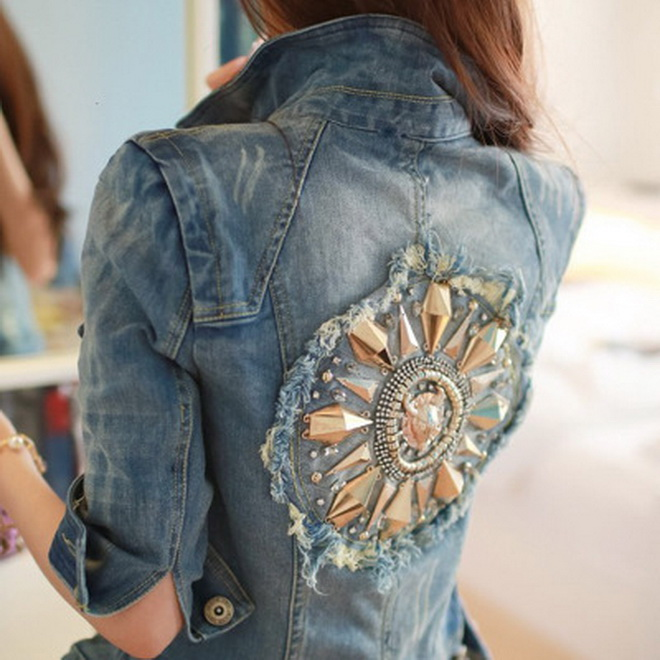 Women Short Cowboy Coats Leisure Outwear Slim Diamonds Half sleeve Women's Denim Blue Jacket Coat Holes Jean Jackets