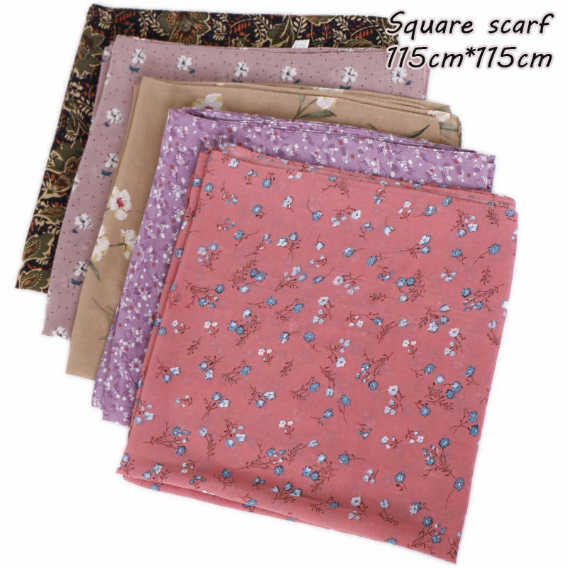 115cm Square hijab scarf design chiffon wraps flower shawls muslim fashion long headband wraps islamic turbans