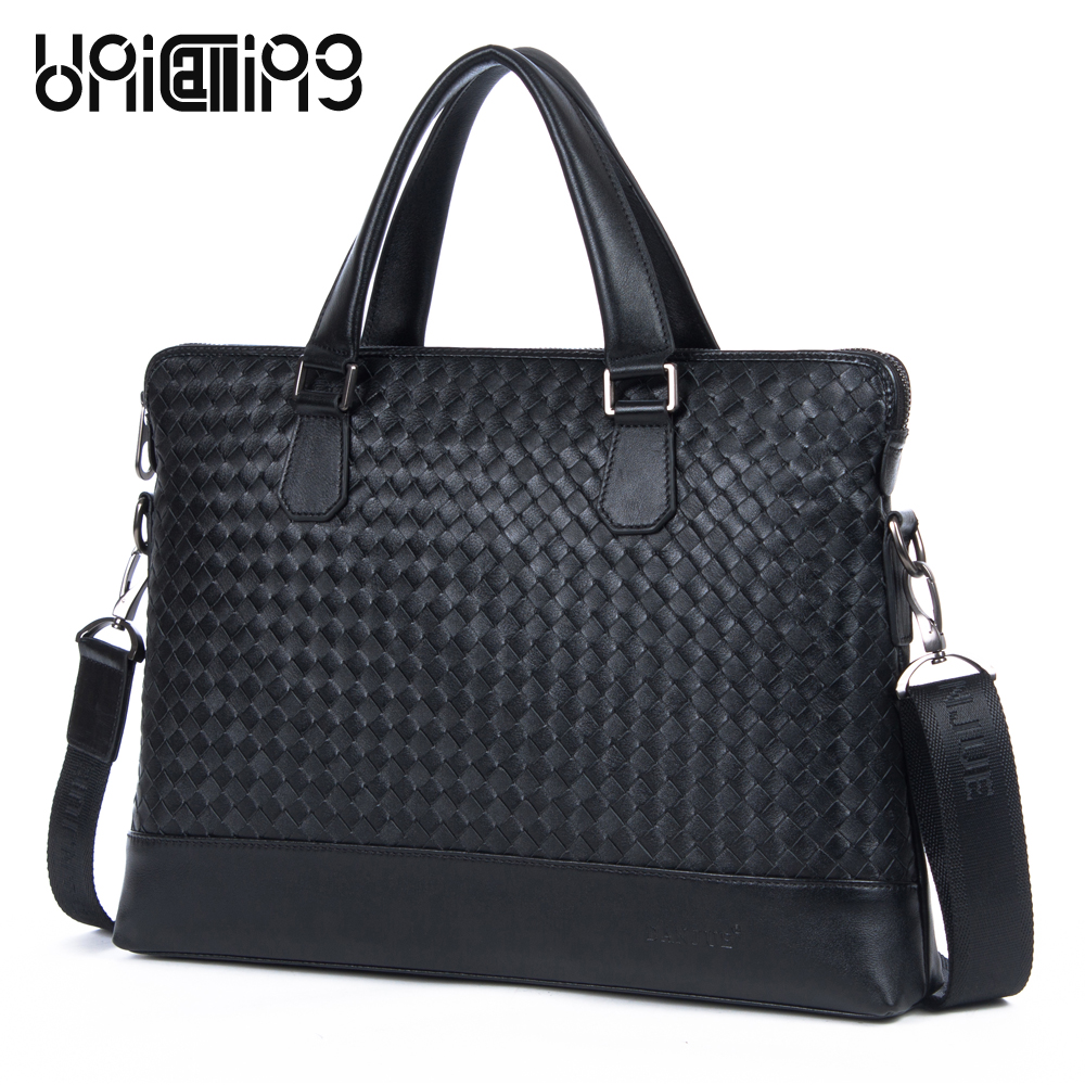 Super quality Top Layer Cowhide Genuine Leather men business handbag fashion Knitting leather man bag real skin briefcase bagSuper quality Top Layer Cowhide Genuine Leather men business handbag fashion Knitting leather man bag real skin briefcase bag
