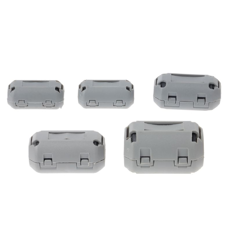 Gray Clip-on Ferrite Choke Ring Cord  RFI EMI Noise Suppressor Filter Cable Clip