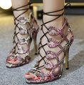 Tamaño 4 ~ 9 con cordones Tacones Altos Mujeres Bombas Gladiador Verano Roma 2016 Talones Finos Zapatos de Las Mujeres zapatos mujer (marque Longitud de Pie)