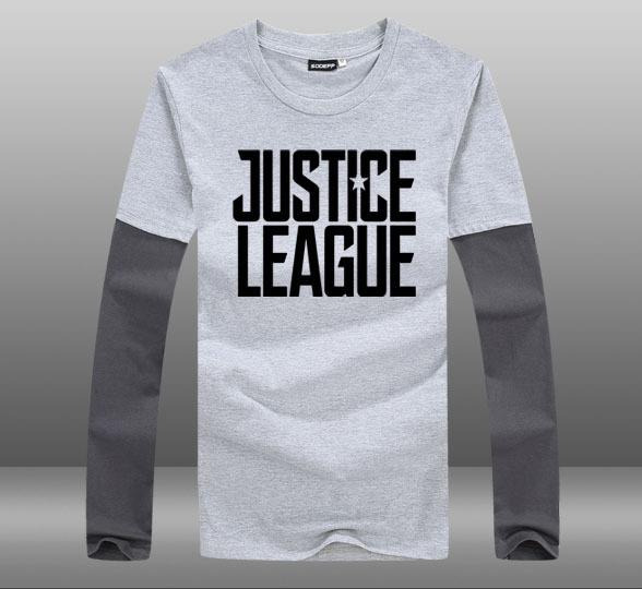 Justice League Glowing Logo Superhero Long Sleeves Casual Men's T-shirt