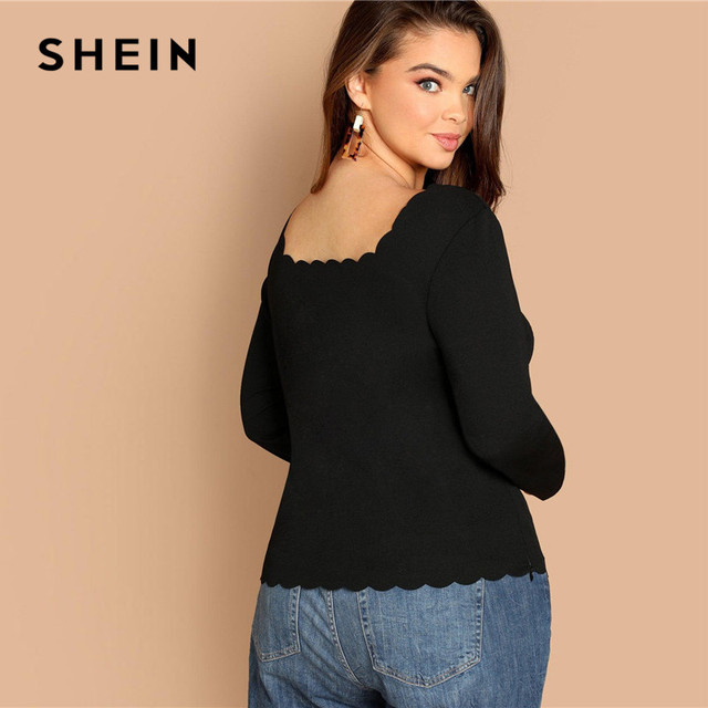 SHEIN Plus Size Long Sleeve Scallop Trim Square Collar Women Black Slim Fit Top Tees Casual Solid T Shirt 1