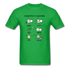 CHEMISTRY IS AWESOME Molecule Theroy Funny T Shirts Alconol Caffeine Happiness Chemistry Men Tshirt Green Top Quality Clothes happiness is