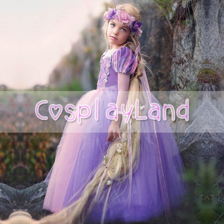 Filles robes Costume raiponce robe de emmêlé salle à manger robe enfant princesse Cosplay fête déguisements