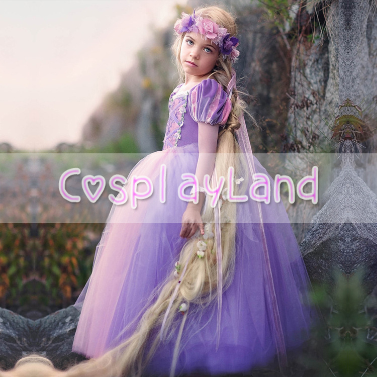 Girls Dresses Costume Rapunzel Dress From Tangled Dining Gown Child Princess Cosplay Party Fancy Dress