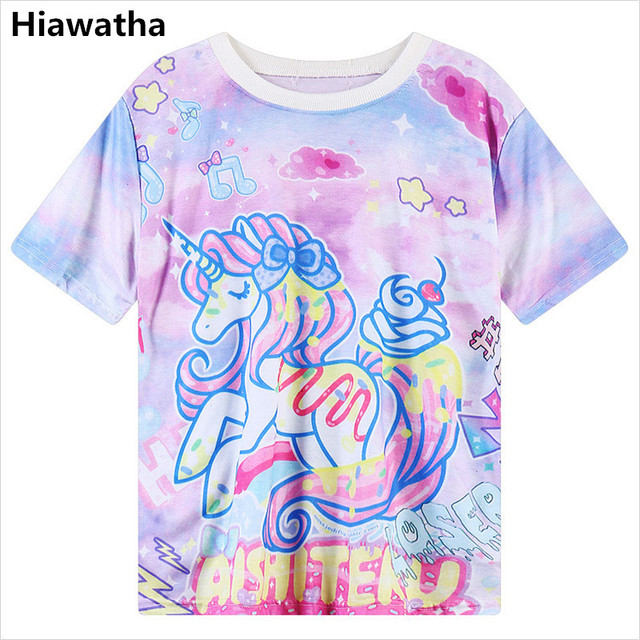 7e8ed6909d3 Hiawatha Summer Harajuku Tops New Women Cartoon Unicorn Printed T-Shirt  Casual Short Sleeve Loose T Shirts T1442