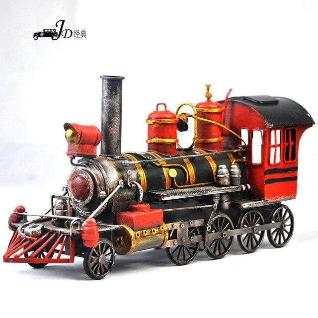 Usa style handmade metal vintage train car model manual home.