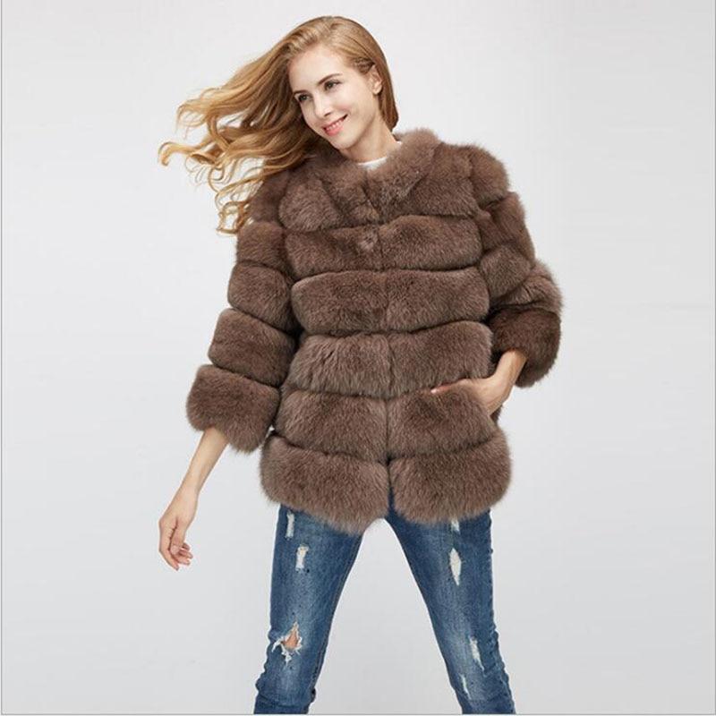Veste manteau femme cuir fourrure
