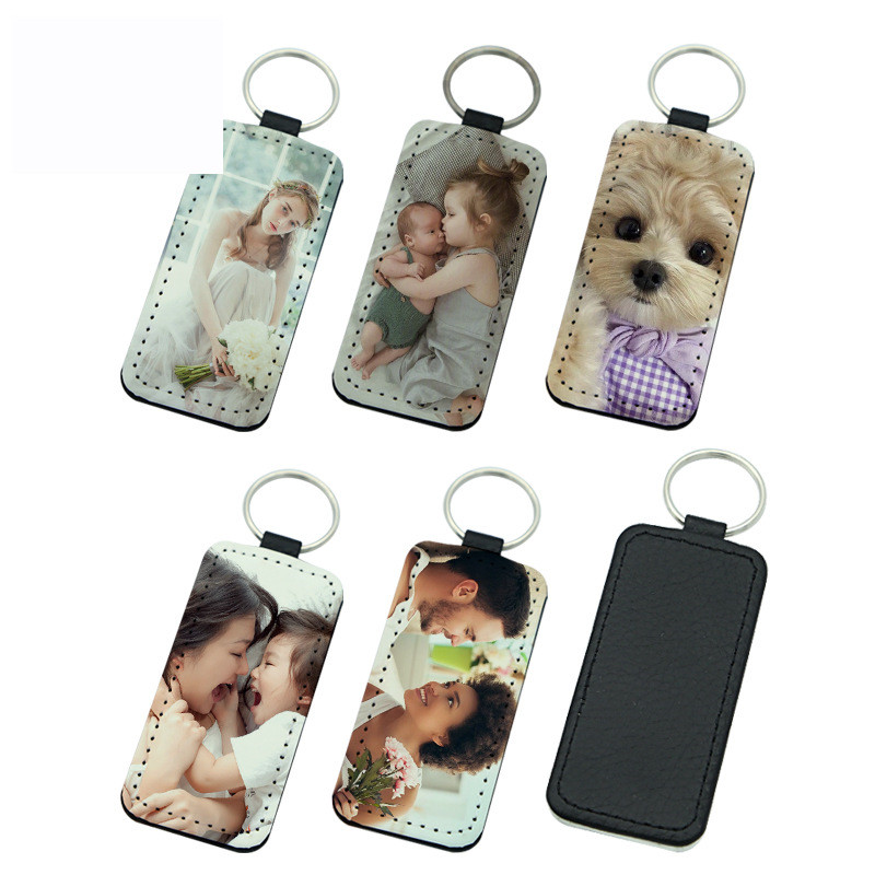 sublimation blank leather keychains Rectangle heart round key ring hot transfer printing leather materials 30pieces lot