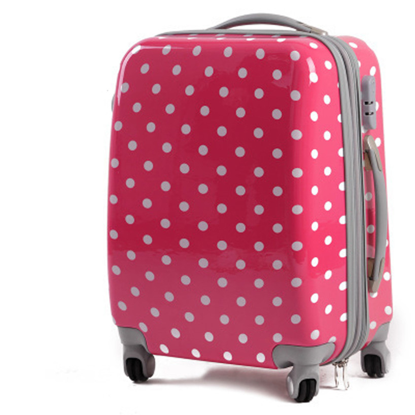 KUNDUI Cute Polka Dot Trolley case bags women travel suitcase universal  wheels rolling luggage bag 18 22 26 inch With extensions-in Hardside Luggage  from ... 7cc98fb716a9d