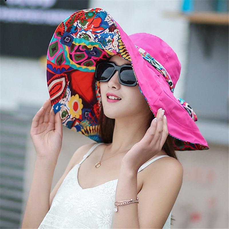 2018 Do Sexo Feminino Verão Sombrero Chapéu de Praia Arco Dobrável Arge  Floppy Sun Caps Floral Aba Larga Chapéu de Praia Meninas Headwear em Chapéus  de sol ... 5ee2813c28a