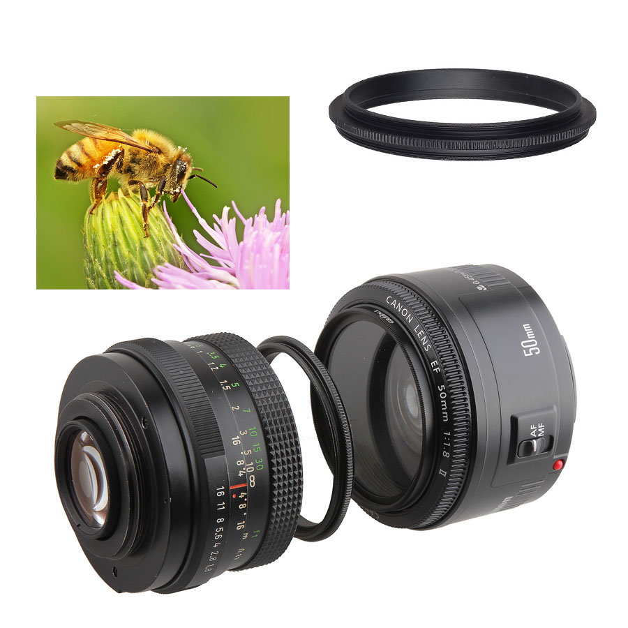52mm to 52mm Male to Male lens Reverse Macro Coupler Adapter Canon Nikon UK