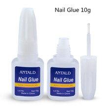 цена на 10g Nail Glue with brush for tips false Gel nails decoration rhinestones