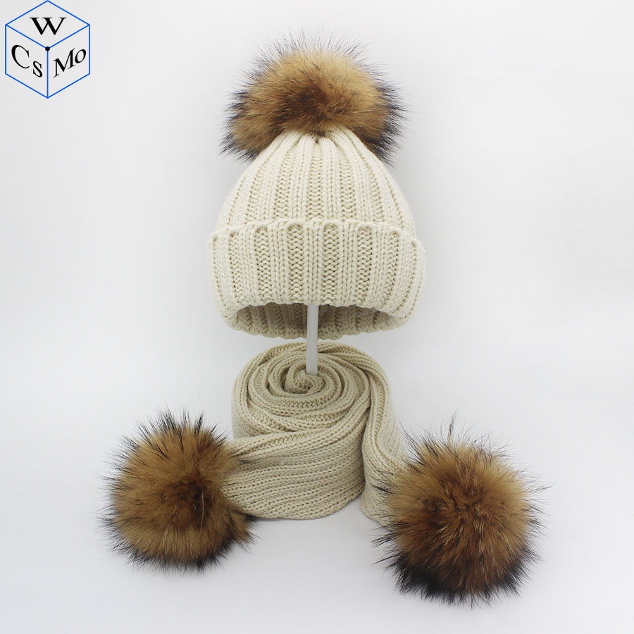 New Arrive Winter Kids Hat&Scarf Natural Real Raccoon Fur Pompom 3pcs Pom Pom Beanies Children' Warm Scarf Hats 1-8 Years Old