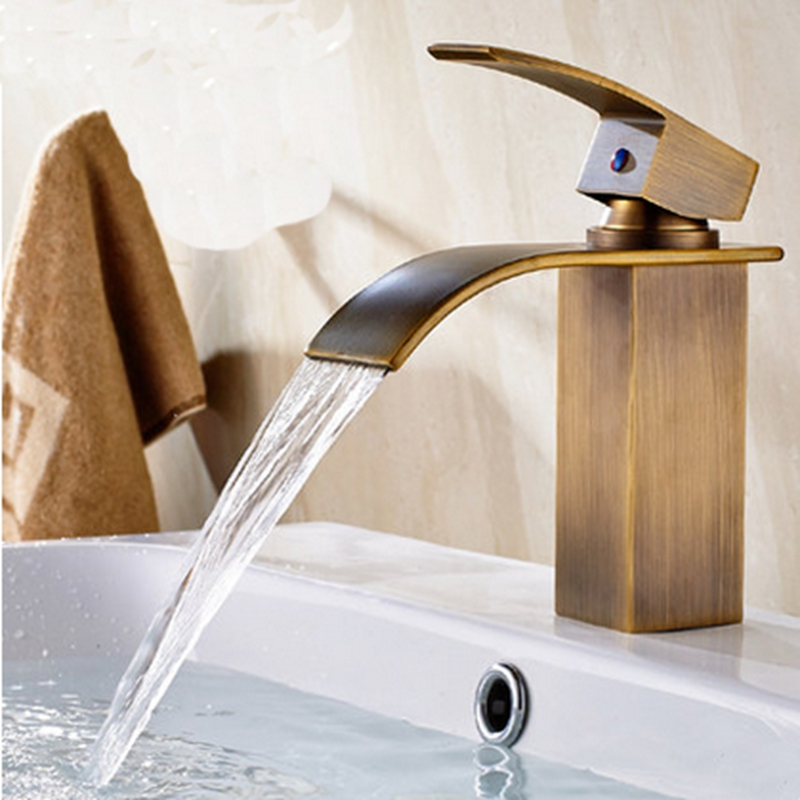 ФОТО Waterfall Spout Antique Brass Square Bathroom Sink Faucet Single Handle Mixer