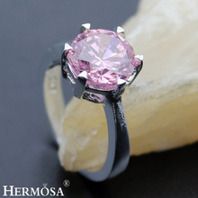 Hermosa Jewelry Advanced Fashion Pink Topza 925 Sterling Silver Engagement Rings 6 BK121