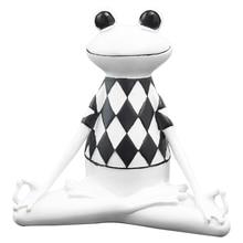 Nordic Style Resin Yoga Frog Decoration Cute Figurine Luxury TV Cabinet Ornament Living Room Decor Craft