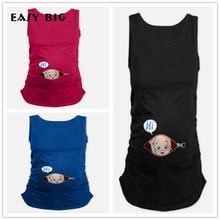 Легкие большие Летние оригинальные футболки для беременных женщин футболки для беременных Одежда для кормящих Топ жилет беременность футболка с длинным рукавом ropa MC0025