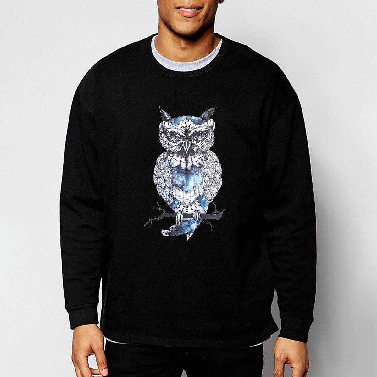 Animal Owl Printed Cartoon Sweatshirts 2019 Spring Autumn Men Hoodie Animal Sweatshirt Mens Hip Hop Streetwear For Adult CM01