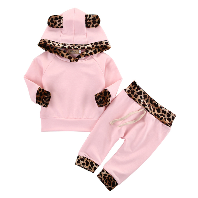 2pcs suit baby girl clothing sets Newborn Baby Girls Pink Long Sleeve leopard Hoodie Sweatshirt+Pants Outfits Set 2017 new style spring autumn hoodie baby girl clothing set sequin lace long sleeve velour sports jacket long trousers outfits