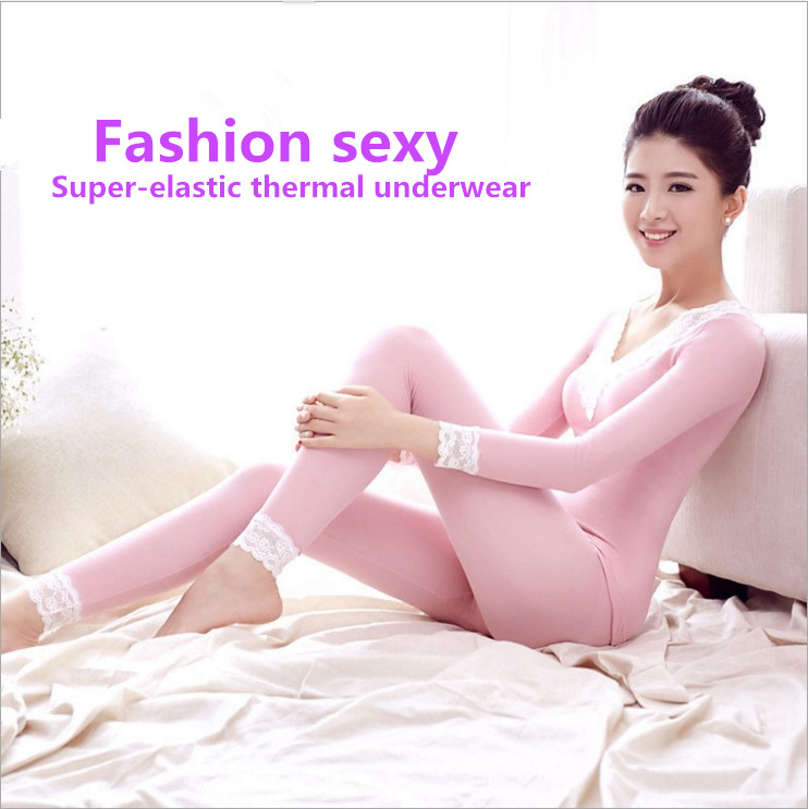 Sexy font b Women s b font Mid Weight Wicking Thermal Underwear Set Top Bottom Soft