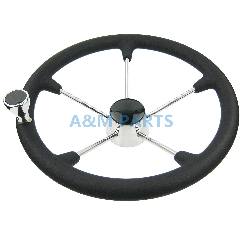 13 1/2 Inch Destroyer Marine Steering Wheel 5 Spoke With Black Foam ...