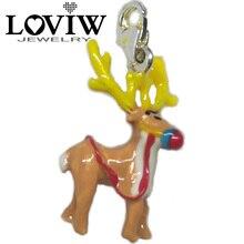 Фотография Three-dimensional silver Reindeer Wapiti Deer Charm thomas Style Animal pendant Good Christmas Xmas Jewelry For girls 2018 Gift