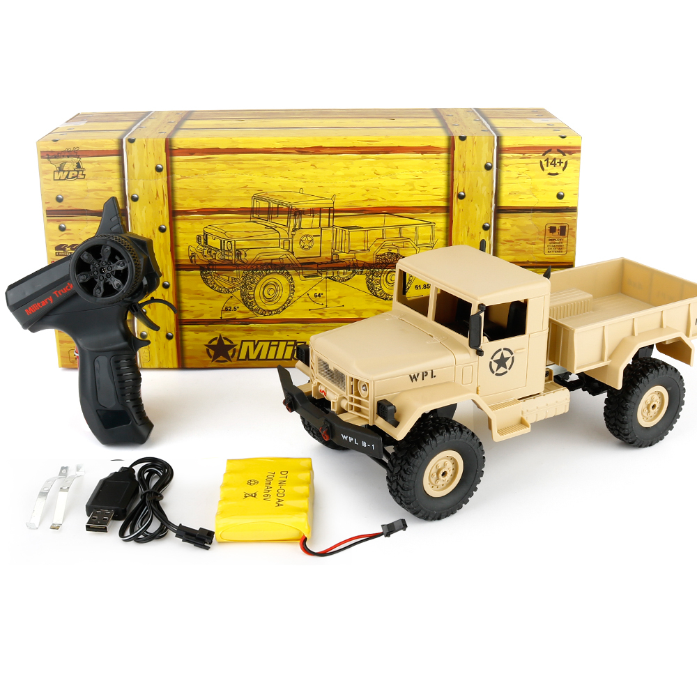 WPL B -1 1:16 Mini Off-road RC Military Truck RTR Four-wheel Drive / Metal Suspension Beam / Bright LED Cristmas Birthday gifts