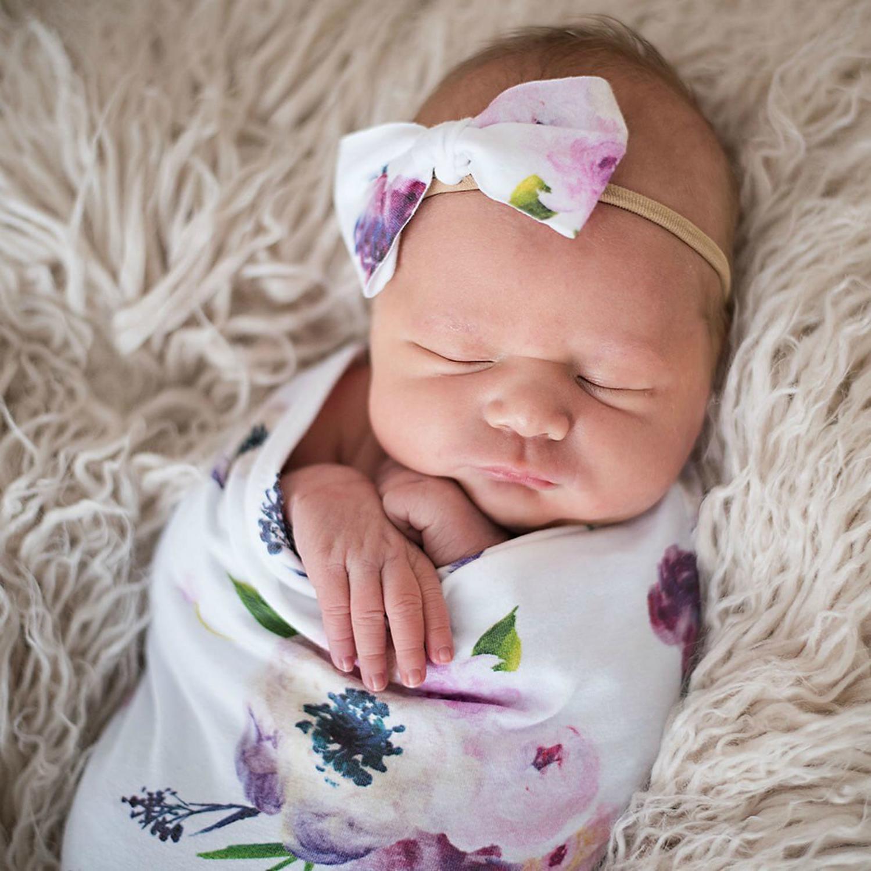 Muslin Bow Headband Sleeping Swaddle Receiving Blanket Baby Swaddle Blanket