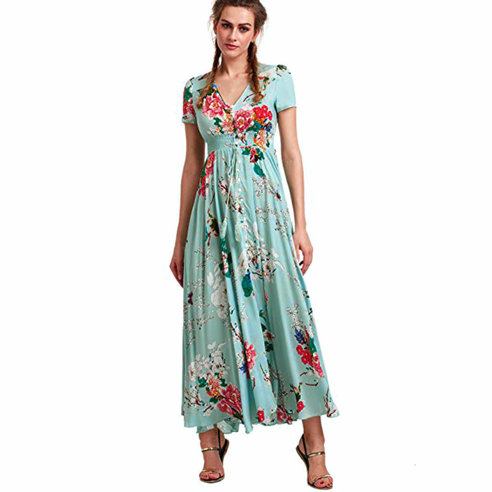 8a08206769341 Detail Feedback Questions about 2018 Summer Button Up Split Floral ...
