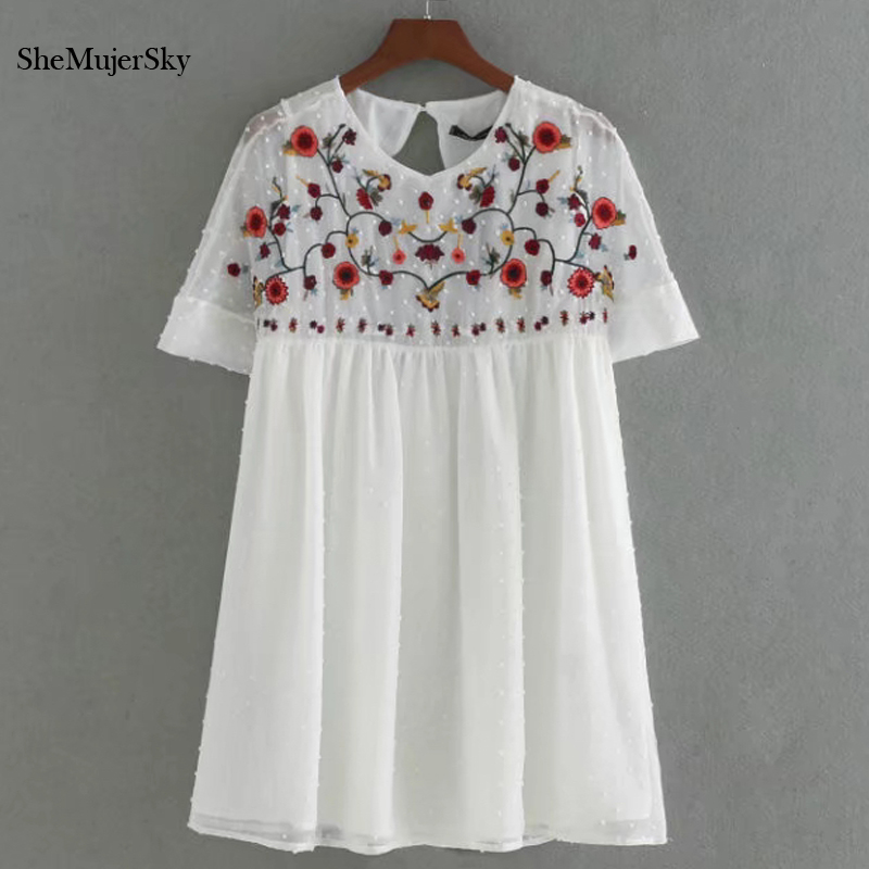 Shemujersky White Chiffon Playsuits Embroidery Jumpsuit Women 2017 Summer   Rompers   Women's Suit