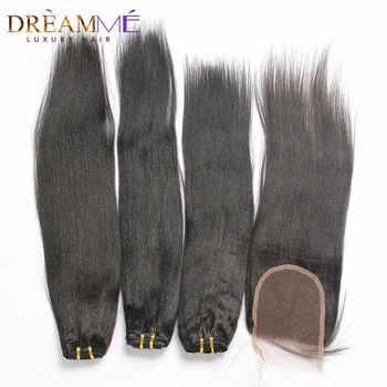 Dreaming Queen Brazilian Light Yaki Human Hair 3 Bundles With Lace Closures Yaki Straight Hair With 4x4 Closures Dreaming Queen