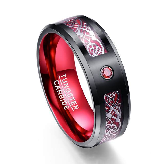 Nova Chegada Teste Padrão Do Dragão de Prata Zircão Vermelho Homens 100% Anéis de Carboneto de Tungstênio Faixas De Casamento Jóias Para Homens